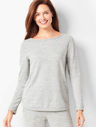 Brushed Melange Crewneck Top