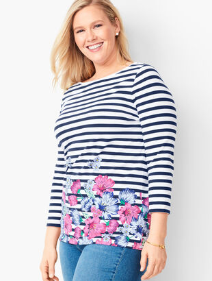 Cotton Bateau-Neck Tee - Floral Stripe