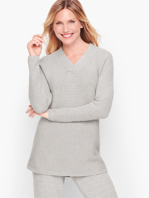 Shaker Stitch Dolman Sleeve Sweater