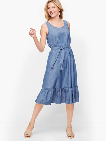 Denim Flounce Hem Dress