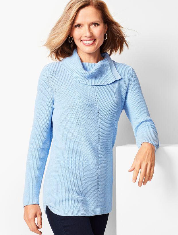 Shaker-Stitch Cowlneck Sweater