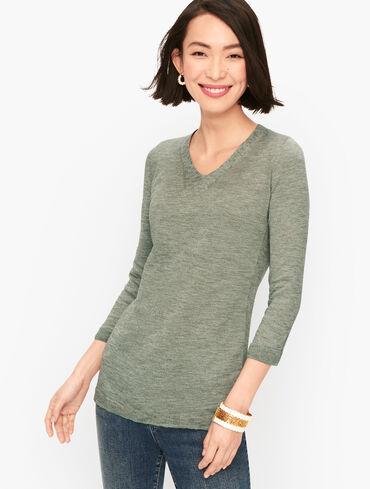 Slub Cotton V-Neck Sweater - Marled