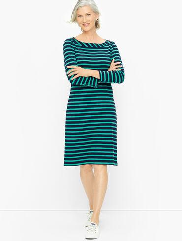 Cotton Jersey Shift Dress - Skipping Stripe