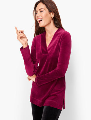 Luxe Velour Easy V-Neck Tunic