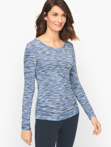 Scoop Neck Ruched Tee - Space Dye