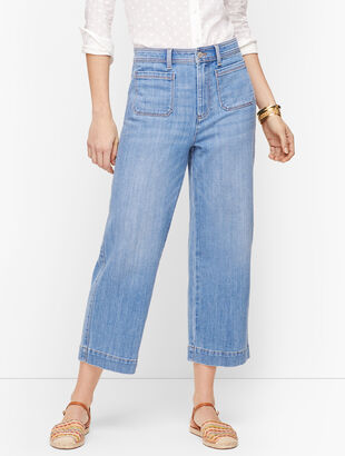 Wide Leg Crop Jeans - Curvy Fit - Tilden Wash