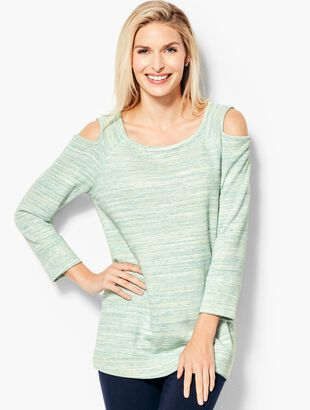 Space-Dyed Cold Shoulder Pullover