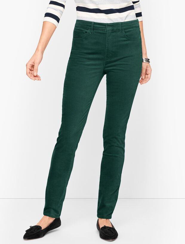 Stretch Velveteen Slim Leg Pants