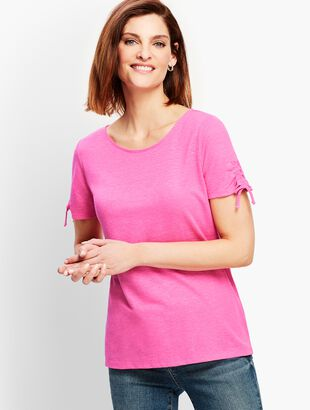 Ruched-Sleeve Tee