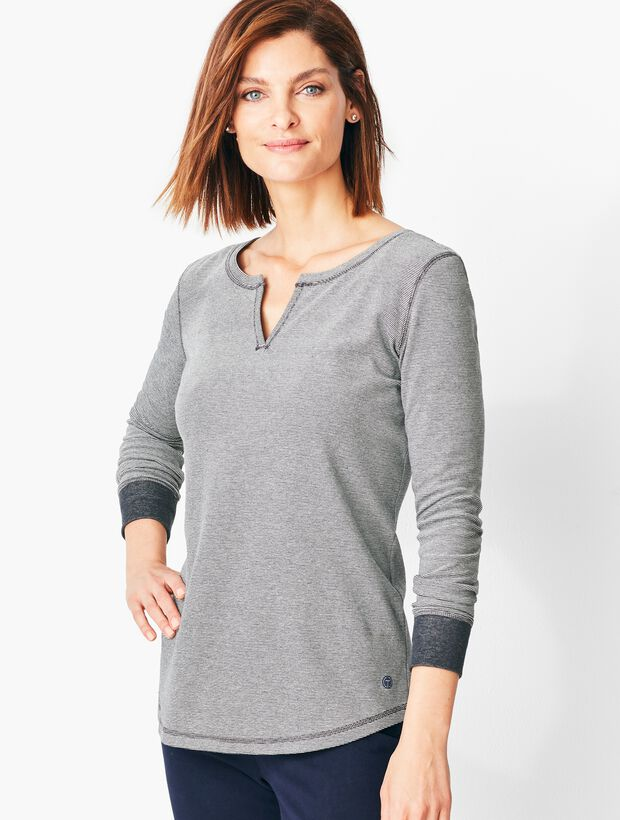 Split-Neck Jacquard Tee