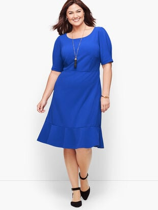 Crepe Flounce Sleeve A-Line Dress