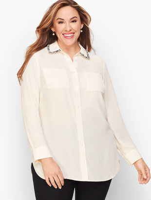 Embellished Collar Soft Shirt