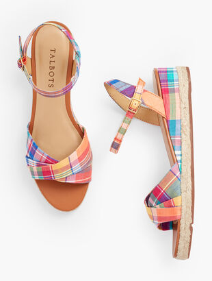 Pamela Twist Espadrille Wedges - Madras