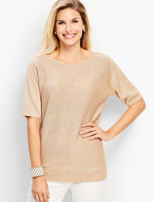 Metallic Dolman-Sleeve V-Back Sweater