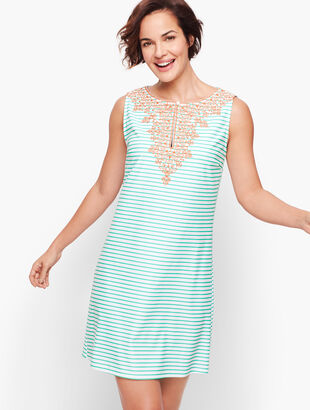 Cabana Life® Sleeveless Embroidered Keyhole Cover Up