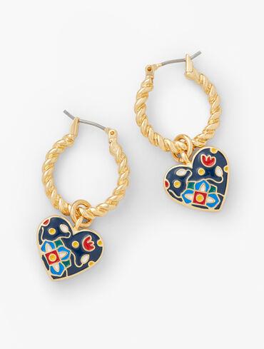 Cloisonné Heart Earrings