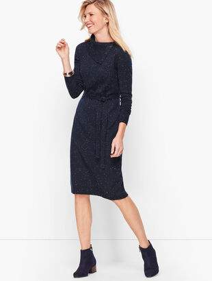 Tweed Split Neck Sweater Dress