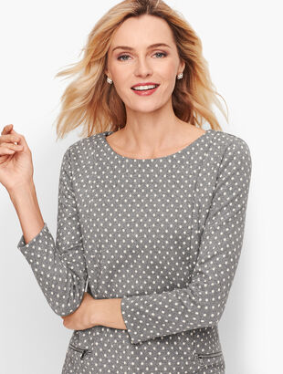 Zip Pocket Jacquard Top - Sparkle Dot