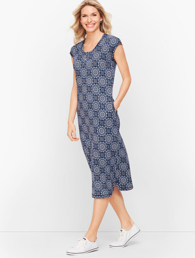 Medallion Henley Midi Dress