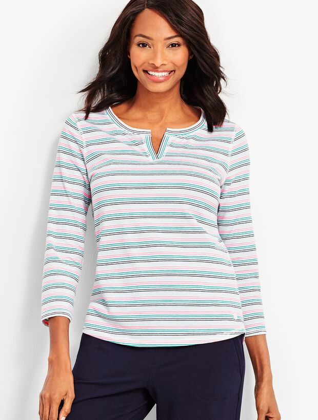 Stripe Notch-Neckline Tee