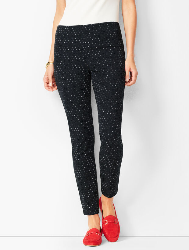 Bi-Stretch Pull-On Skinny Ankle Pants - Dot