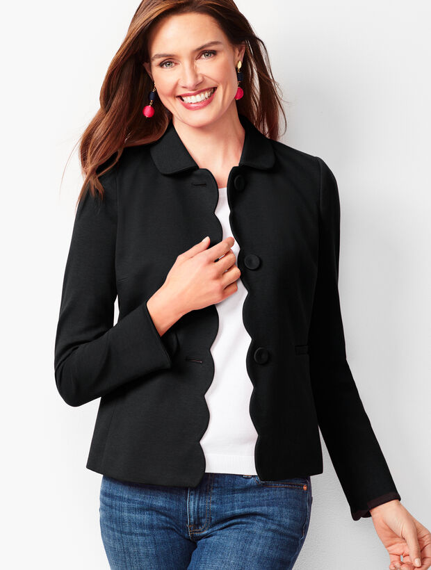 Ponte Scallop-Edge Jacket
