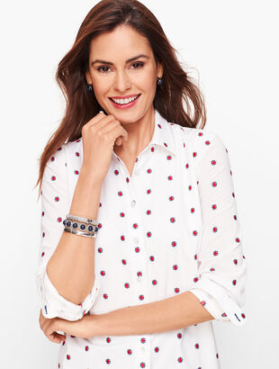Classic Cotton Shirt - Ditsy Embroidered