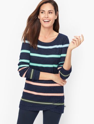 Wrap Hem Pullover - Falling Stripe
