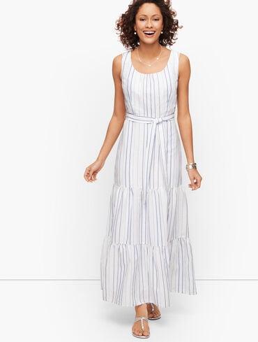 Stripe Linen Tiered Maxi Dress