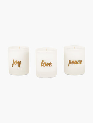 "Snowy Night ""Love, Joy, Peace"" Votive Candles"