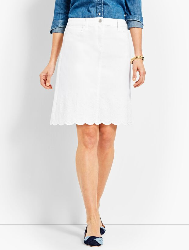 Embroidered Scallop-Hem Denim Skirt
