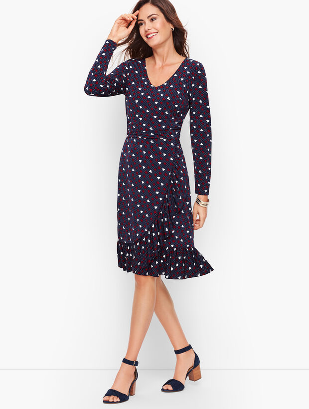 Heart Print A-Line Jersey Sheath Dress