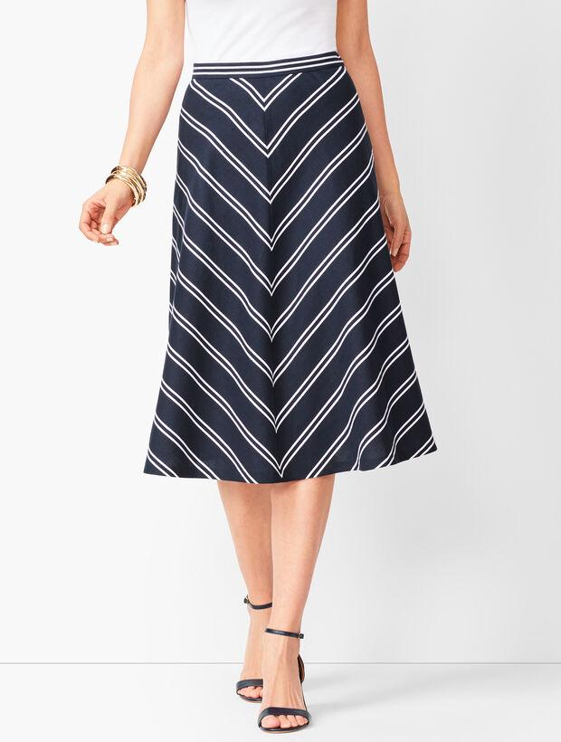Dobby-Weave Stripe Midi Skirt