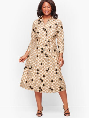 Floral Dot Poplin Shirtdress
