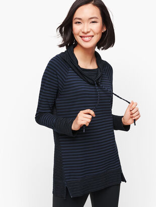 Mixed Stripe Cowlneck Pullover