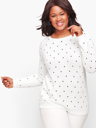 Pima Cotton Shaker Stitch Sweater - Dot