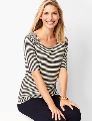 Platinum Jersey Scoop-Neck Top - Stripe