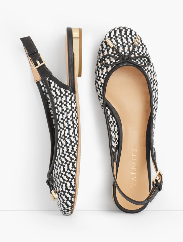 Olympia Open-Weave Slingback Flats
