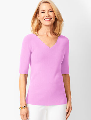 eff66e2887 Scallop-Trim V-Neck Sweater