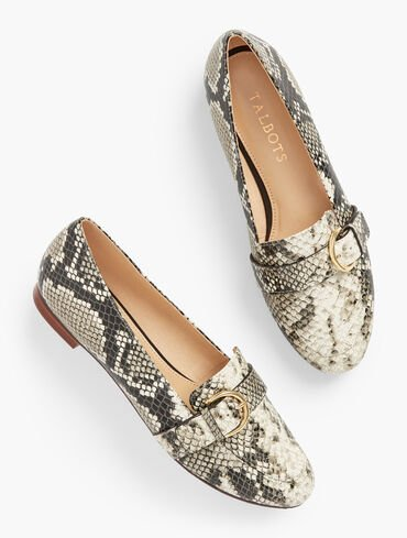 Ryan Buckle Embossed Leather Loafers