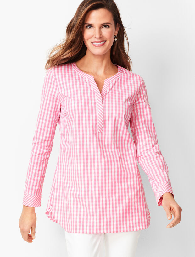 Gingham Split-Neck Tunic