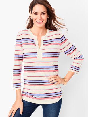 Linen-Blend Split-Neck Sweater - Stripe