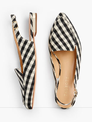 Poppy Pointed Toe Slingbacks - Gingham