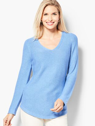 Link-Stitched V-Neck Sweater - Solid