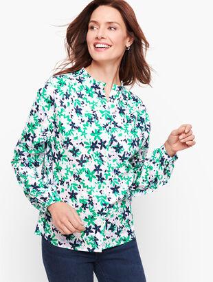 Feminine Button Front Shirt - Floral
