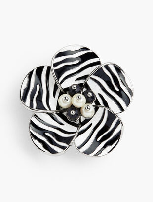 Zebra-Stripe Flower Brooch