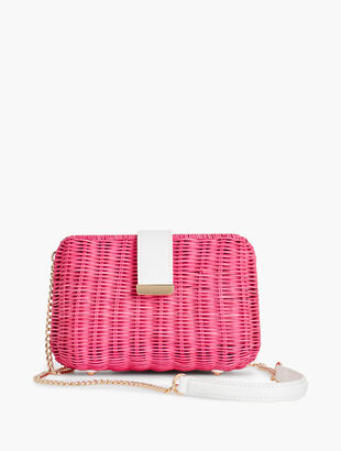 Wicker & Leather Magnetic Clasp Bag