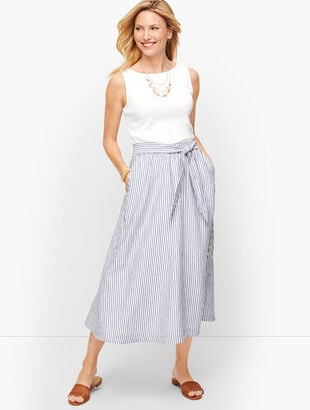 Candy Stripe Linen Midi Skirt