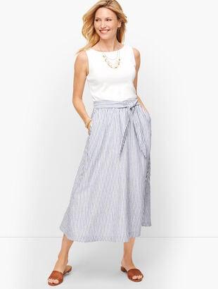 Candy Stripe Linen Midi Skirt