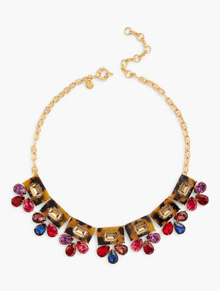 Colorful Tort and Crystal Statement Necklace